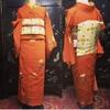 正絹、オレンジ色の昔着物(アンティーク着物)