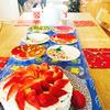 お家でクリスマスパーティーをしました!苺のケーキ作り、料理のメニュー、テーブルセット