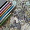 完成】100均メタリック色鉛筆で『夜の魔女』塗り過程です☆マンダラコロリアージュより