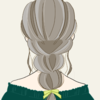 【フリーイラスト素材】ゆるふわ三つ編み×オフショルダー×バックスタイルの女の子