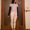 パンプスで履くGUの白スウェットパンツ