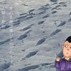 カレンダー 11月(雪の足跡)
