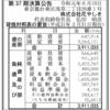 株式会社花やしき 第37期決算公告