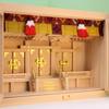 箱宮の神棚に専用のすだれをつけたときの参考例 箱宮20号三社 尾州桧版