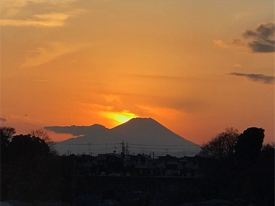 もうすぐダイヤモンド富士〜今日はわずかに南の方に夕陽が沈んでいきました〜