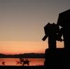 洞爺湖町 道の駅あぷたから眺めた夕焼け空