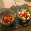 豆腐そうめんに煮浸しのせ、アボカドトマトサラダ