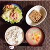 鶏だし野菜汁、小粒納豆、レタスサラダ。