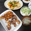 エリンギ唐揚げ、あじの和風ソース、白和え、味噌汁