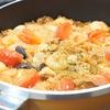 香ばしおこげが美味しい!シーフードミックスとナスのトマトチキンパエリアの作り方・レシピ