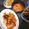 豚丼、ひじき、ポークビーンズ、味噌汁