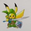マスターソード×ハイリアの盾を装備したイケメンピカ様。 Cool Pikachu, equipped with Master Sword & Hylian Shield.