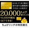 【緊急速報】20,000ポイント+6,000ポイント初年度年会費無料のゴールドカード