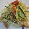 ミミガー入、きゅうりと玉ねぎのパスタサラダ