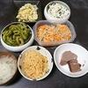 うなぎごはん、ゴーヤ、切り干し酢の物、味噌汁、豆乳ココアプリン豆腐とワカメの酢の物、