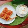 【週末ブランチ】トーストとラテアート トーストを四つ切りにするとちょっとおしゃれ♪