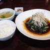 ヌーベルシノワ醐杜羽(ごとう)で、牡蠣と春菊の四川黒酢辛子炒め@馬車道