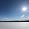凍ったため池の上を恐々散歩。ノースグレンモアパーク