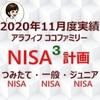 【NISA】楽天証券のNISA3つの口座2020年11月度実績
