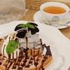 紅茶専門店マザーリーフの、チョコミントアイスワッフル