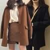 韓国ファッション ウールコート レトロ キルティング加工 あったか コート レディース