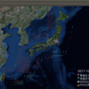 2017-10-27 地震の予測マップ (東進・西進を識別 能登半島・奄美諸島・沖縄諸島に注意)