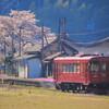 朝の長良川鉄道と桜