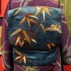 紫地竹に雀小紋×青繻子地竹に雀刺繍名古屋帯
