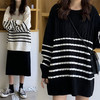 ニット セーター ケーブル編み ボーダー ルーズ 韓国ファッション レディース 大人可愛い