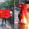 (海外反応) ミャンマーの街で炎上した中国五星紅旗…。軍部「児童47人死亡、証拠なし」