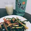 釜山のマッコリとパキムチ(ネギ)で晩酌してみた