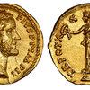 古代ローマ帝国アントニヌスピウス紀元131~161年アウレウス金貨Strike5/5  Surface5/5
