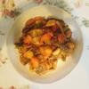 秋刀魚酢豚風、かに玉、鶏モモ肉