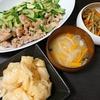 豚こまきゅうり中華炒め、大根中華漬け、味噌汁