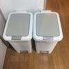 キッチンのゴミ箱 上に物を置けるようにしてスペース活用