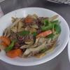 幸運な病のレシピ( 2063 )朝 :タケノコ・舞茸・牛肉・人参・ピーマンの青椒肉絲風、味噌汁、マユのご飯(タケノコ入り)
