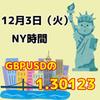 【12/3 NY時間】ポンドドルの1.30123
