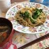 ブロッコリーのスパゲティと春キャベツと豚肉の味噌炒め