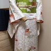 【着物コーディネート帖】蝶々柄の白い小紋着物に紗綾型地紋入りの抹茶色の帯で昭和レトロなコーディネート