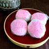 【いが餅】ピンクの米粒がチャームポイント
