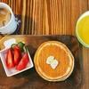 ホットケーキと自家製かぼちゃポタージュの朝ご飯