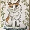 誕生日祝いにペットの猫の似顔絵