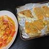 トマト卵炒め、厚揚げ味噌、味噌汁