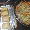 野菜炒め、厚揚げ味噌マヨ、味噌汁