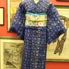 青地縞にレオパード柄単衣小紋×ピンク地小鳥と菊仕立て上がり名古屋帯