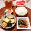 厚揚げ小松菜炒め、おくら 納豆、すいか。