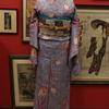 紫地チューリップ柄染紬小紋×モダン更紗柄仕立て上り名古屋帯