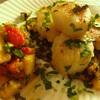 ✴︎(覚書き)帆立の香味野菜炒め焼き、焼きパプリカと南瓜と林檎とパセリのサラダ