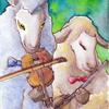 水彩画「羊のデュエット」