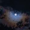 台風前夜の月が幻想的だった。光環という現象が現れた。